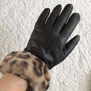 Women Black Leather Winter Gloves